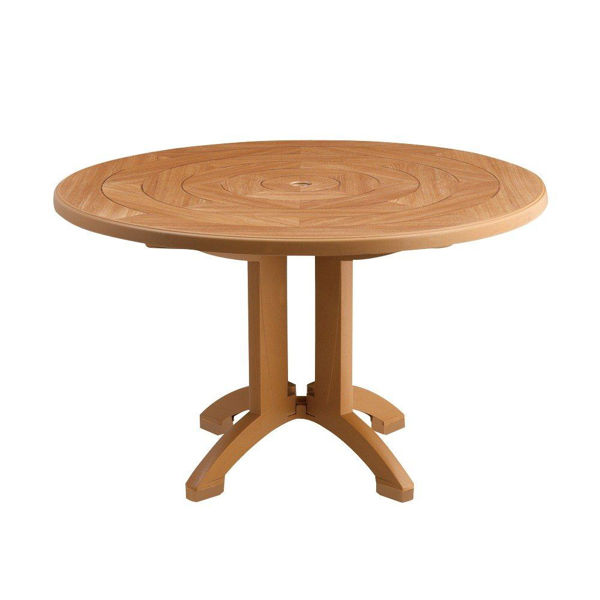 "Picture of Grosfillex Atlantis 48"" Round Pedestal Table In Teakwood Pack Of 1"