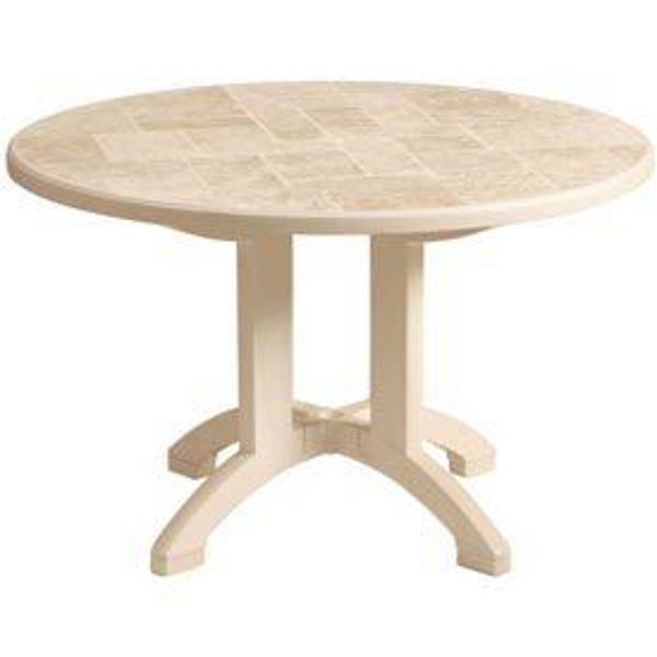 """Picture of Grosfillex Siena 48"""" Round Pedestal Table In Sandstone Pack Of 1"""