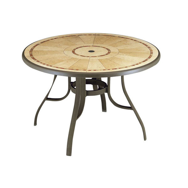 "Picture of Grosfillex Louisiana 48"" Round Table with Metal Legs In Bronze Mist Pack Of 1"