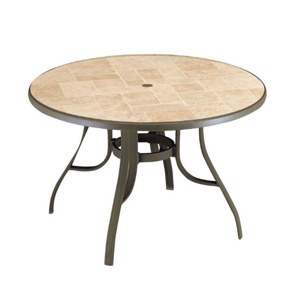 "Picture of Grosfillex Toscana 48"" Round Table with Metal Legs In Bronze Mist Pack Of 1"
