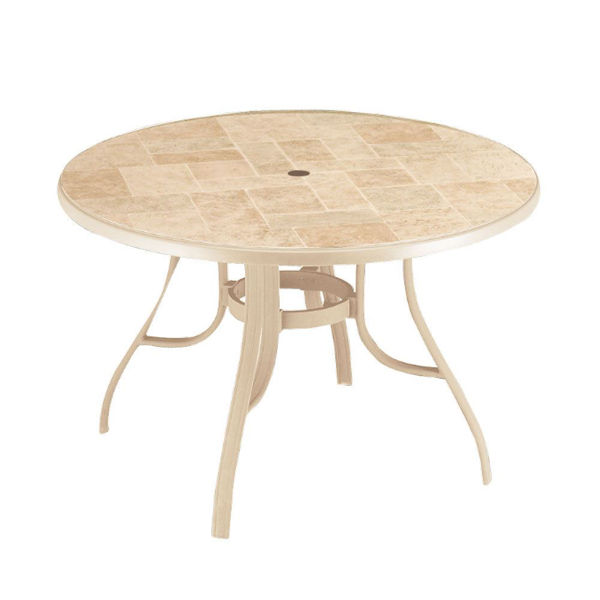 "Picture of Grosfillex Toscana 48"" Round Table with Metal Legs In Sandstone Pack Of 1"