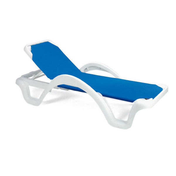 Picture of Grosfillex Catalina Adjustable Sling Chaise With Arm White Frame In Blue Pack Of 14