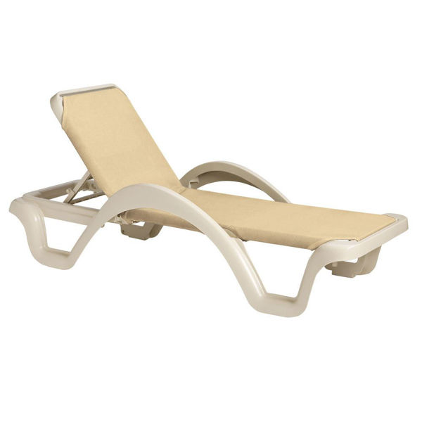 Picture of Grosfillex Catalina Adjustable Sling Chaise With Arm Sandstone Frame In Natural Pack Of 14