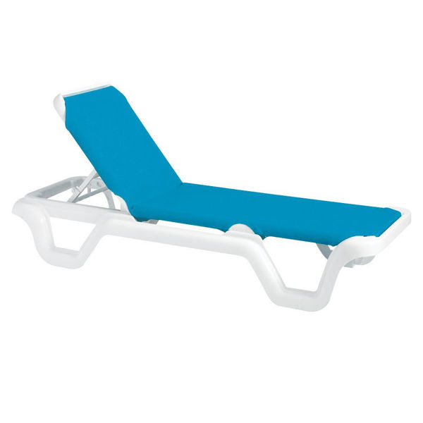 Picture of Grosfillex Marina Adjustable Sling Chaise Without Arm White Frame In Sky Blue Pack Of 14