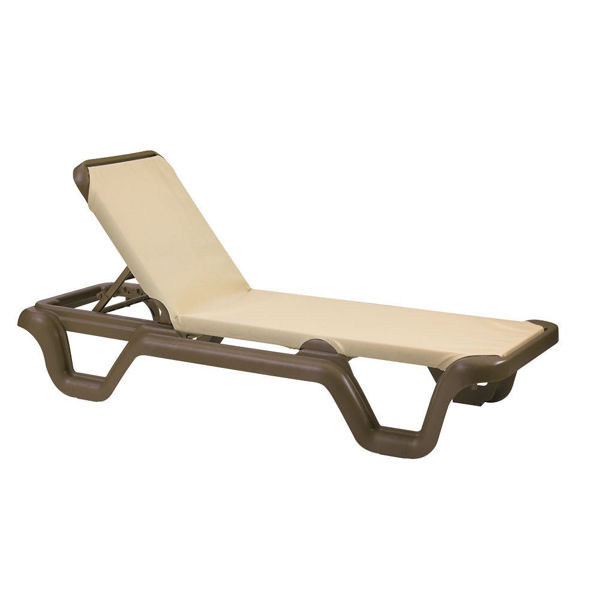Picture of Grosfillex Marina Adjustable Sling Chaise Without Arm Bronze Mist Frame In Khaki Pack Of 14