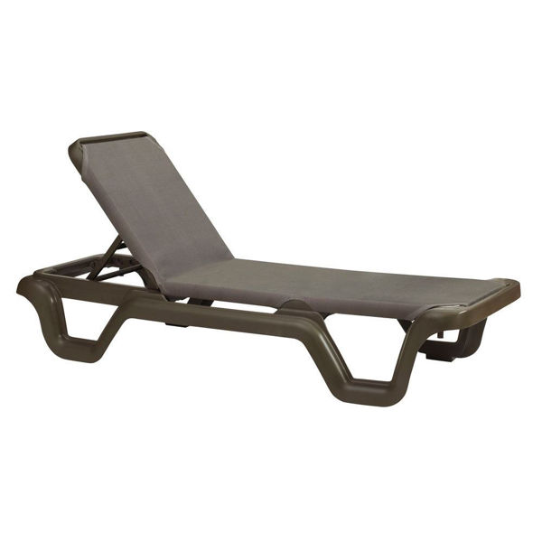 Picture of Grosfillex Marina Adjustable Sling Chaise Without Arm Bronze Mist Frame In Espresso Pack Of 14