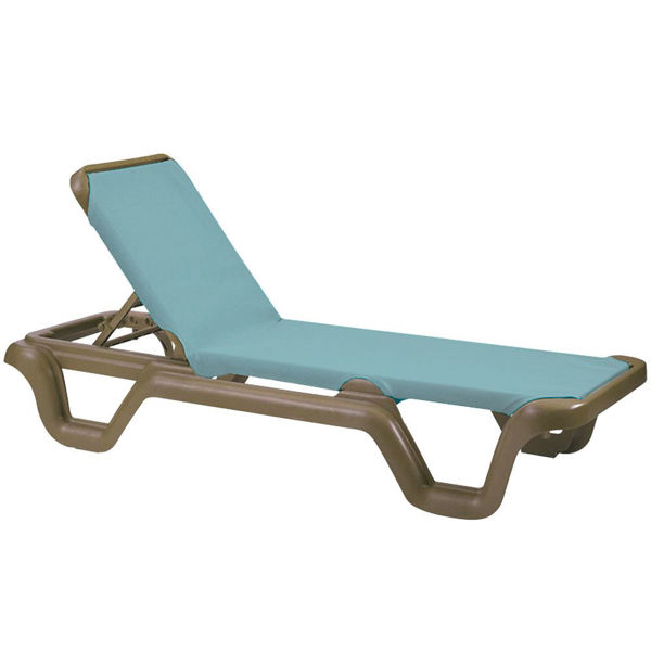 Picture of Grosfillex Marina Adjustable Sling Chaise Without Arm Bronze Mist Frame In Spa Blue Pack Of 2