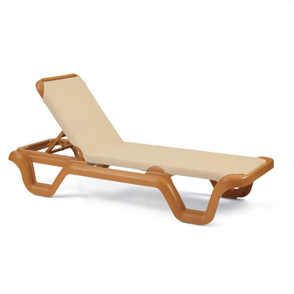 Picture of Grosfillex Marina Adjustable Sling Chaise Without Arm Teakwood Frame In Khaki Pack Of 14