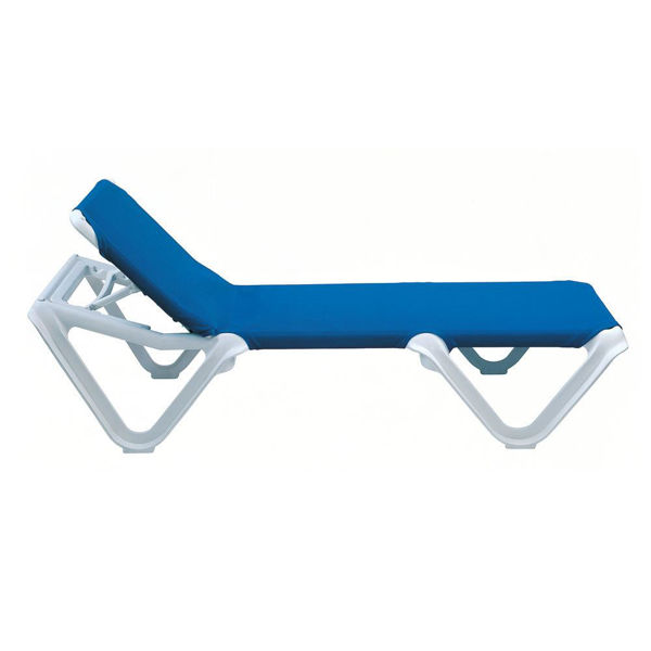 Picture of Grosfillex Nautical Adjustable Sling Chaise Without Arm White Frame In Blue Pack Of 12