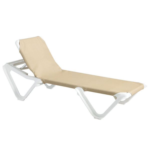Picture of Grosfillex Nautical Adjustable Sling Chaise Without Arm White Frame In Khaki Pack Of 2