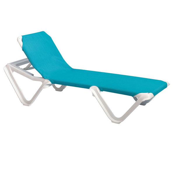 Picture of Grosfillex Nautical Adjustable Sling Chaise Without Arm White Frame In Turquoise Pack Of 12