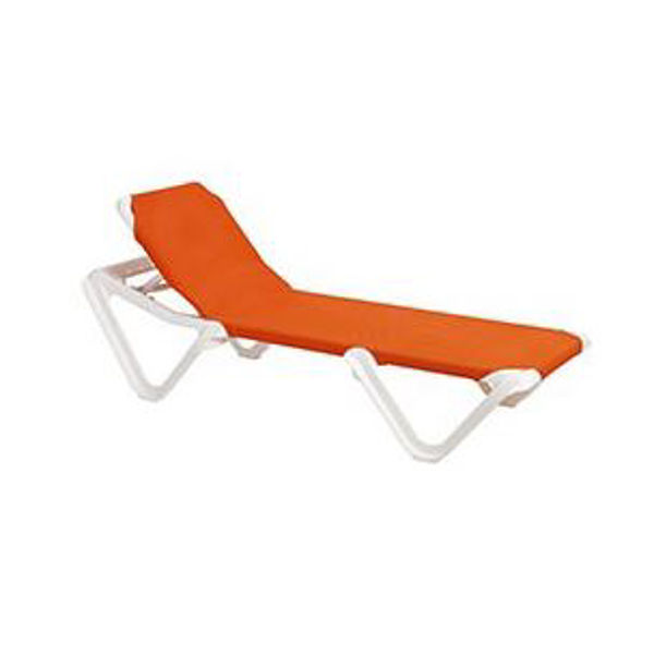 Picture of Grosfillex Nautical Adjustable Sling Chaise Without Arm White Frame In Orange Pack Of 2