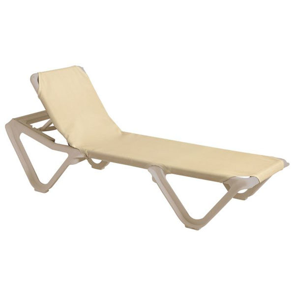 Picture of Grosfillex Nautical Adjustable Sling Chaise Sandstone Frame In Khaki Pack Of 12
