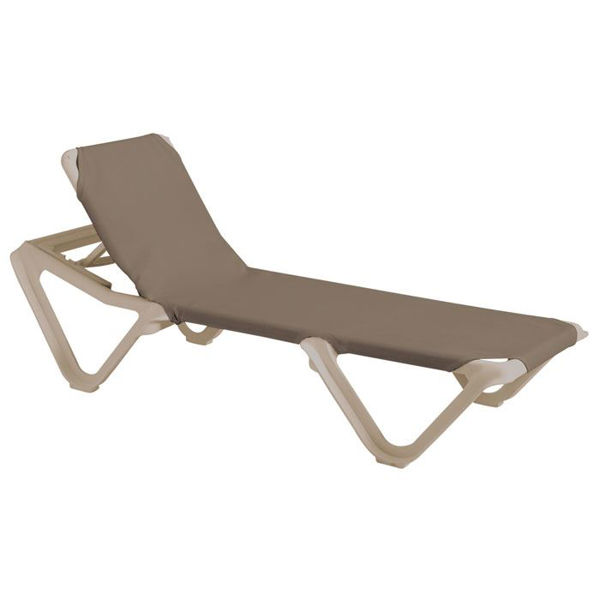 Picture of Grosfillex Nautical Adjustable Sling Chaise Sandstone Frame In Taupe Pack Of 12