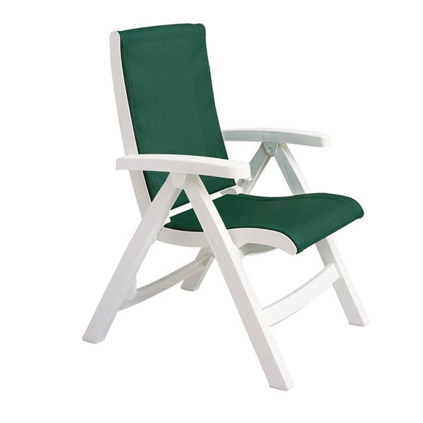 Picture of Grosfillex Jersey Midback Folding Sling Chair - White Frame In Hunter Green Pack Of 2