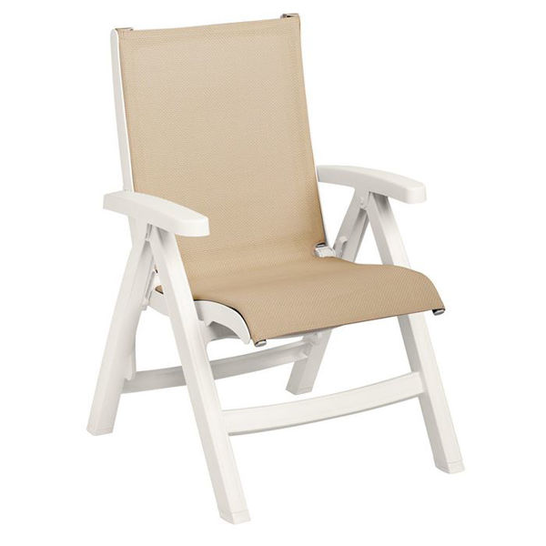 Picture of Grosfillex Belize Midback Folding Sling Chair - White Frame In Khaki Pack Of 2