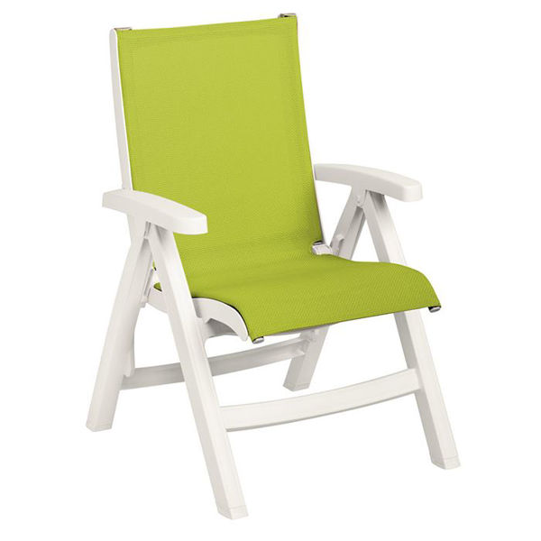 Picture of Grosfillex Belize Midback Folding Sling Chair - White Frame In Fern Green Pack Of 2
