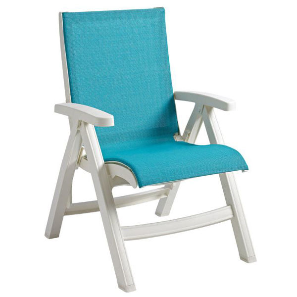 Picture of Grosfillex Belize Midback Folding Sling Chair - White Frame In Turquoise Pack Of 2