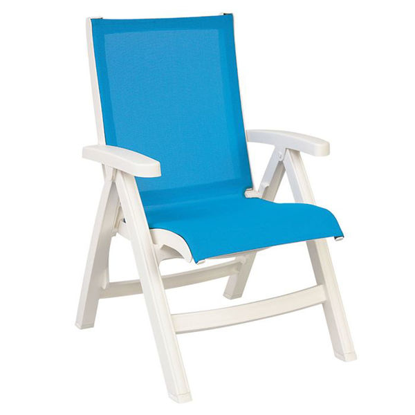 Picture of Grosfillex Belize Midback Folding Sling Chair - White Frame In Sky Blue Pack Of 2