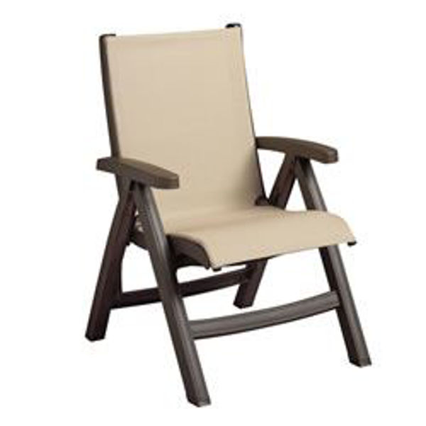 Picture of Grosfillex Belize Midback Folding Sling Chair - Bronze Mist Frame In Khaki Pack Of 2