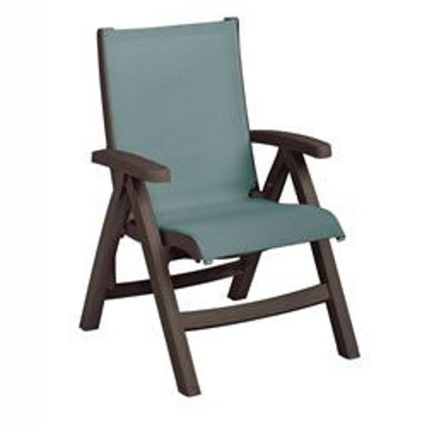 Picture of Grosfillex Belize Midback Folding Sling Chair - Bronze Mist Frame In Spa Blue Pack Of 2