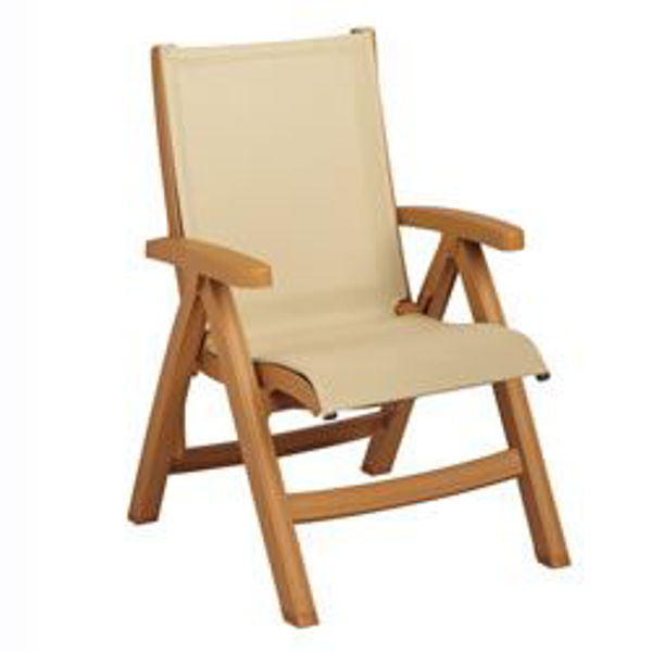 Picture of Grosfillex Belize Midback Folding Sling Chair - Wood Frame In Khaki Pack Of 2