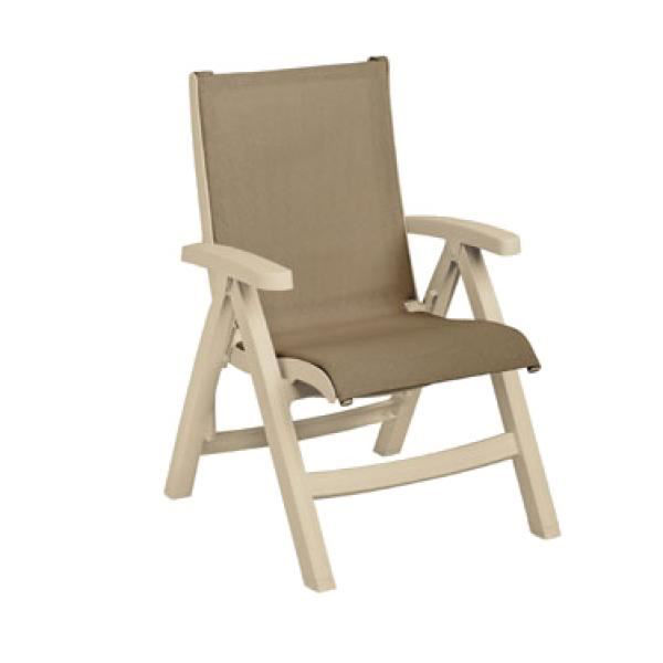 Picture of Grosfillex Belize Midback Folding Sling Chair - Sandstone Frame In Taupe Pack Of 2