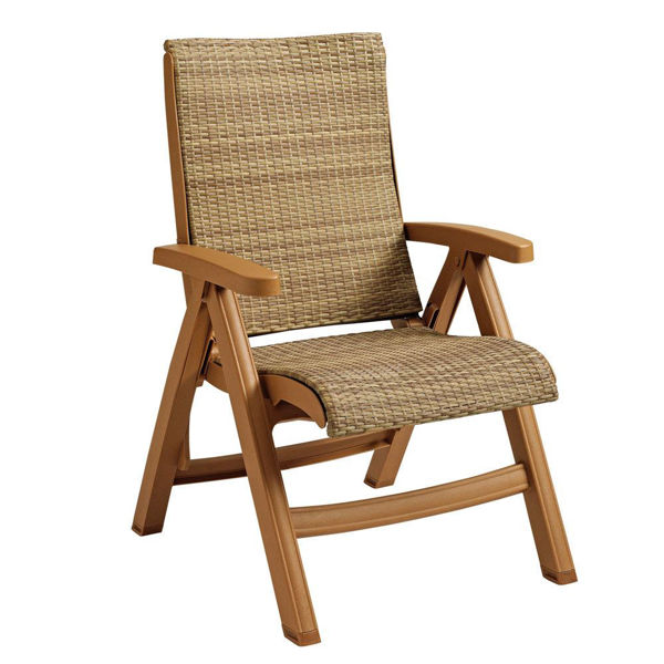 Picture of Grosfillex Java Weather Wicker Folding Chair Wood Frame In Honey Pack Of 2