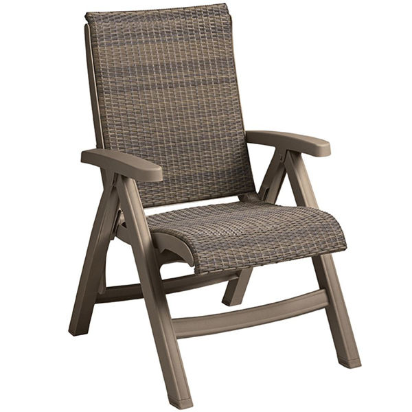Picture of Grosfillex Java Weather Wicker Folding Chair Taupe Frame In Mocaccino Pack Of 2