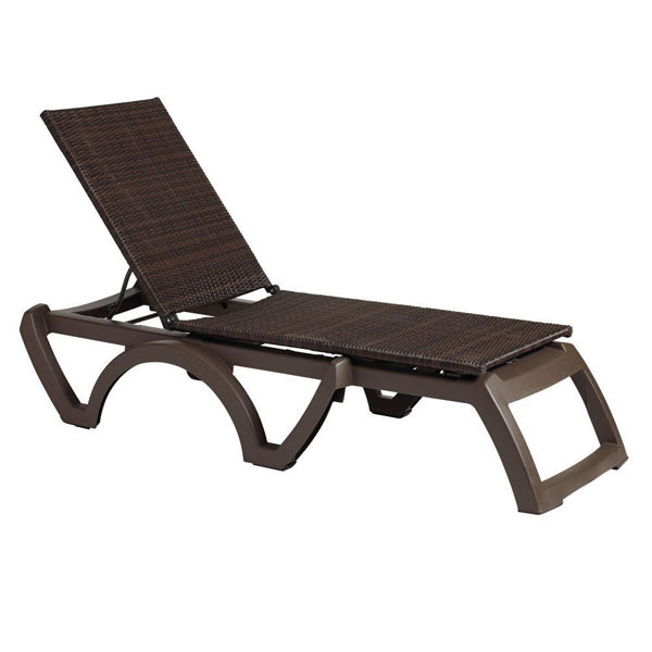 Picture of Grosfillex Java Weather Wicker Chaise Bronze Mist Frame In Espresso Pack Of 12