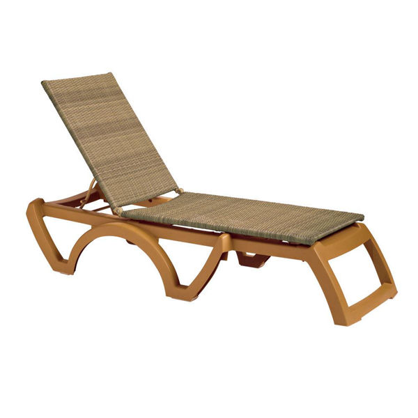 Picture of Grosfillex Java Weather Wicker Chaise Wood Frame In Honey Pack Of 12