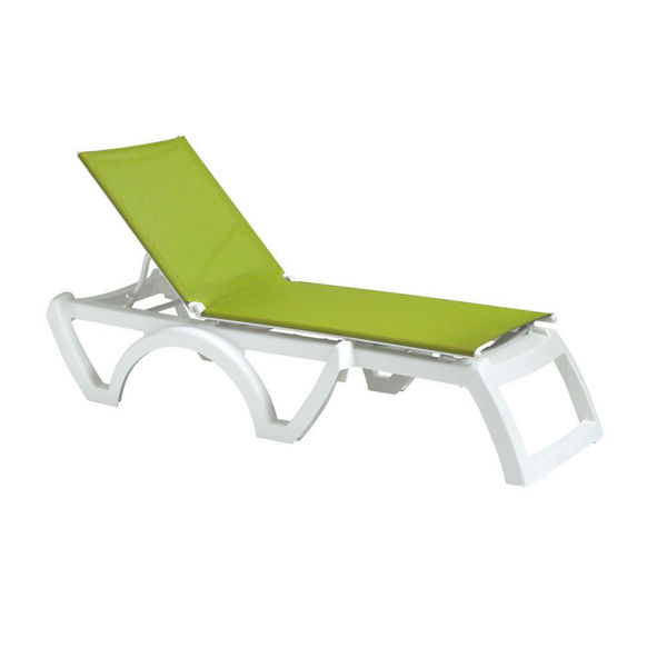 Picture of Grosfillex Calypso Adjustable Sling Chaise - White Frame In Fern Green Pack Of 2