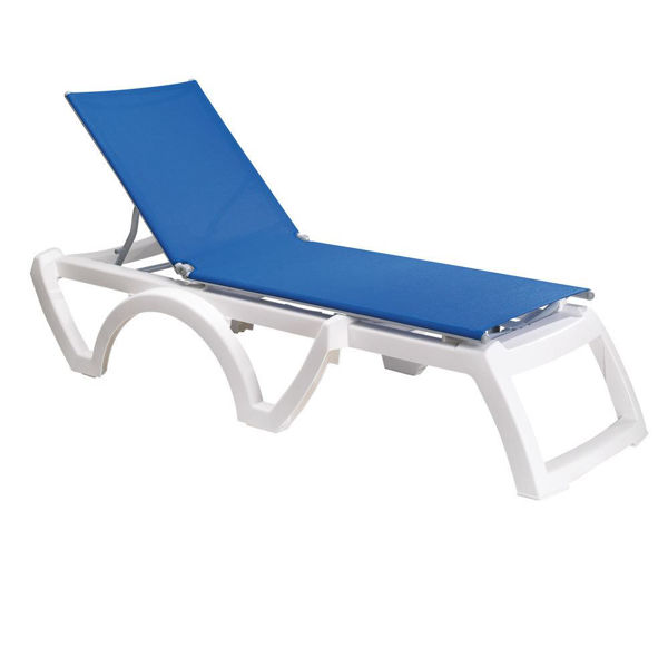 Picture of Grosfillex Calypso Adjustable Sling Chaise - White Frame In Blue Pack Of 2