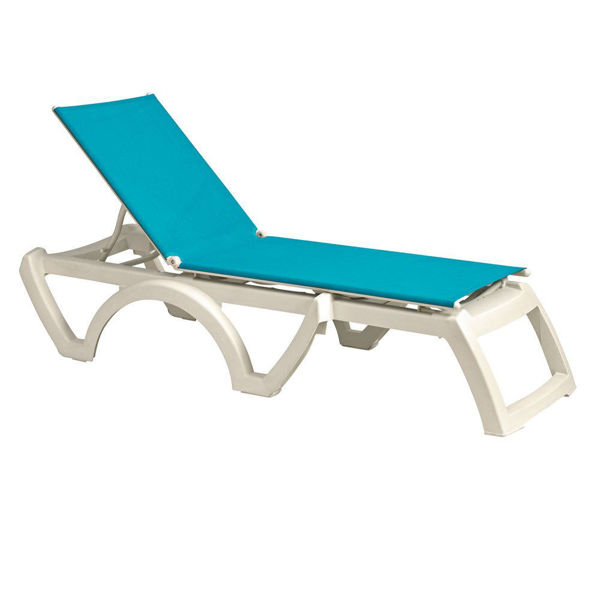 Picture of Grosfillex Calypso Adjustable Sling Chaise - White Frame In Turquoise Pack Of 12