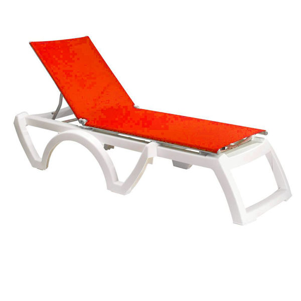 Picture of Grosfillex Calypso Adjustable Sling Chaise - White Frame In Orange Pack Of 2
