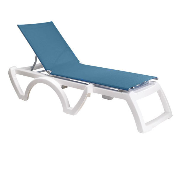 Picture of Grosfillex Calypso Adjustable Sling Chaise - White Frame In Sky Blue Pack Of 2