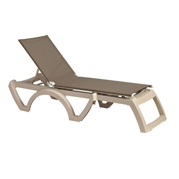 Picture of Grosfillex Calypso Adjustable Sling Chaise - Sandstone Frame In Taupe Pack Of 2