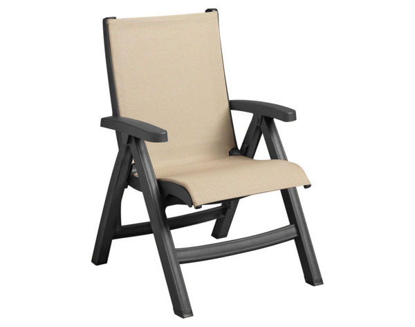 Picture of Grosfillex Belize Replacement Sling Chair - Charcoal Frame In Khaki Pack Of 1