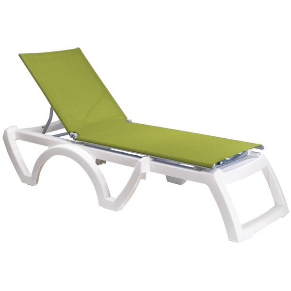 Picture of Grosfillex Calypso Replacement Sling Chaise - Fern Green In White Frame Pack Of 6
