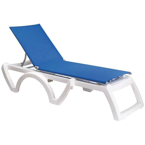 Picture of Grosfillex Calypso Replacement Sling Chaise - Blue In White Frame Pack Of 6