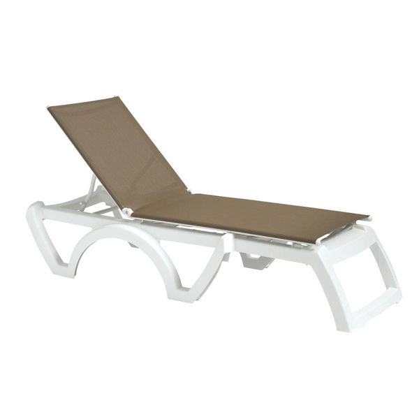 Picture of Grosfillex Calypso Replacement Sling Chaise - Taupe In White Frame Pack Of 6