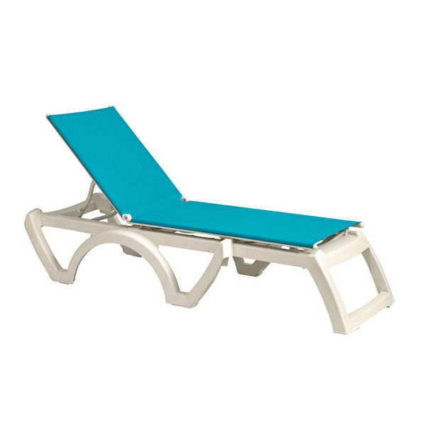 Picture of Grosfillex Calypso Replacement Sling Chaise - Turquoise In White Frame Pack Of 6