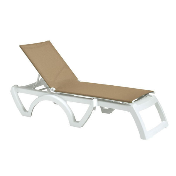 Picture of Grosfillex Calypso Replacement Sling Chaise - Beige In White Frame Pack Of 6