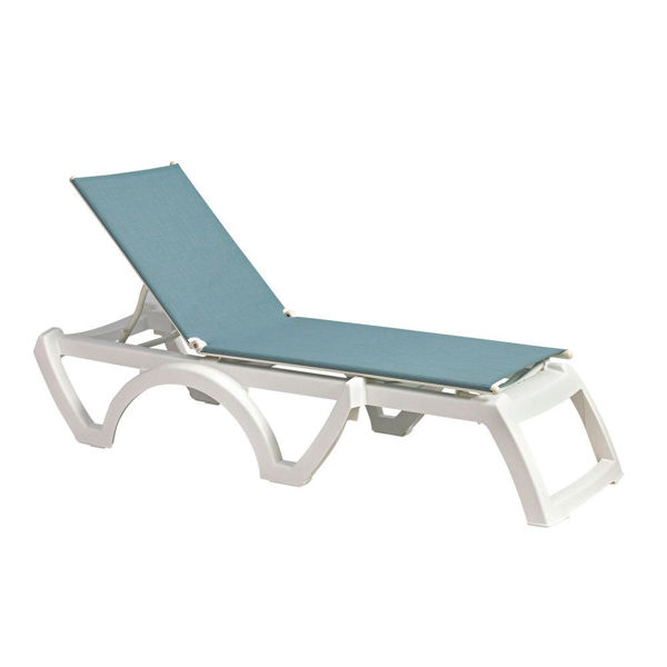 Picture of Grosfillex Calypso Replacement Sling Chaise - Spa Blue In White Frame Pack Of 6