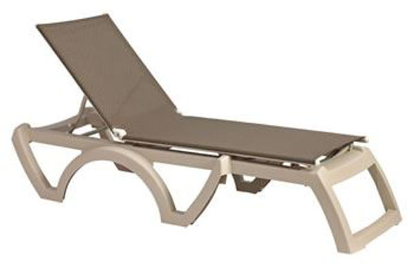 Picture of Grosfillex Calypso Replacement Sling Chaise - Taupe In Sandstone Frame Pack Of 6