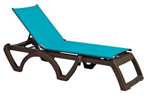 Picture of Grosfillex Calypso Replacement Sling Chaise - Turquoise In Bronze Frame Pack Of 6