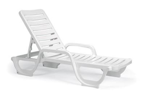 Picture of Grosfillex Bahia Stacking Adjustable Resin Chaise In White Pack Of 2