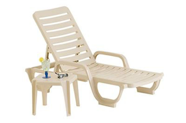 Picture of Grosfillex Bahia Stacking Adjustable Resin Chaise In Sandstone Pack Of 2