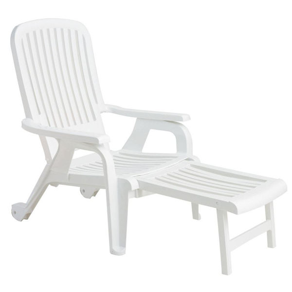 Picture of Grosfillex Bahia Stacking Deck Chair In White Pack Of 2