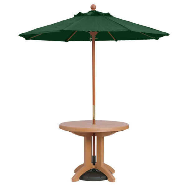 """Picture of Grosfillex 7 Ft. Wooden Market Umbrella with 11/2"""" Pole In Forest Green Pack Of 1"""